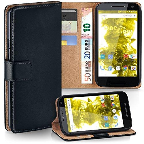 Motorola Moto G3 Hülle Schwarz mit Karten-Fach [OneFlow 360° Book Klapp-Hülle] Handytasche Kunst-Leder Handyhülle für Motorola Moto G 3. Generation Case Flip Cover Schutzhülle Tasche