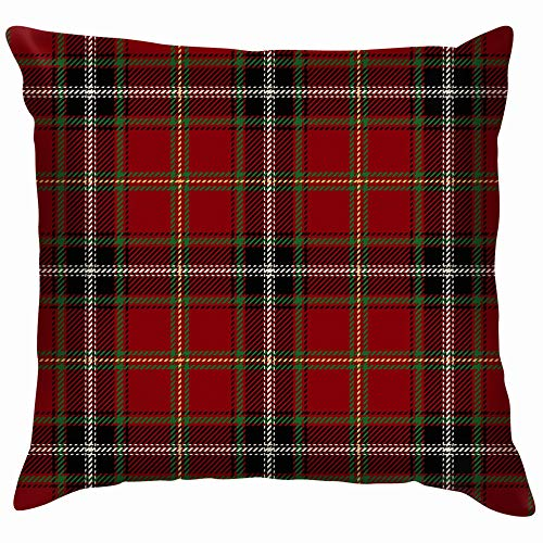 Tartan Red Black Cotton Throw Pillow Case Cushion Cover Home Office Decorative, Square 18X18 Inch - Irish Linen Jacket