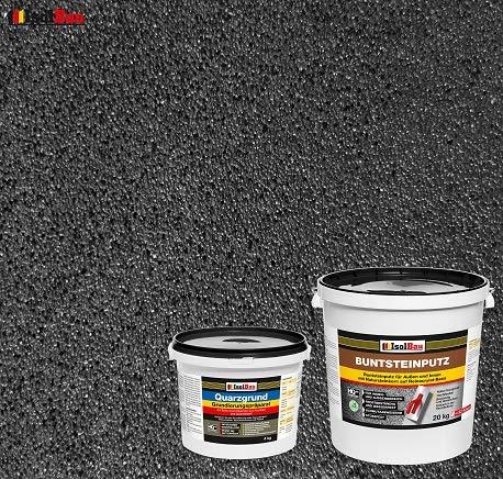 Buntsteinputz Mosaikputz BP100 (Anthrazit) 20kg Absolute ProfiQualität + Quarzgrund 4 kg