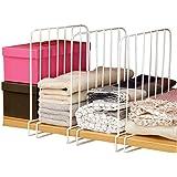 Inditradition Wardrobe Shelf Divider, Cloth Organizer   Wardrobe Closet Separator (Metal, White) (Pack of 3)