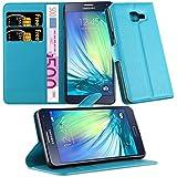 Cadorabo - Etui Housse pour > Samsung Galaxy A5 (6) - Modèle 2016 < – Coque Case Cover Bumper Portefeuille (avec stand horizontale et fentes pour cartes) en BLEU CÉLESTE