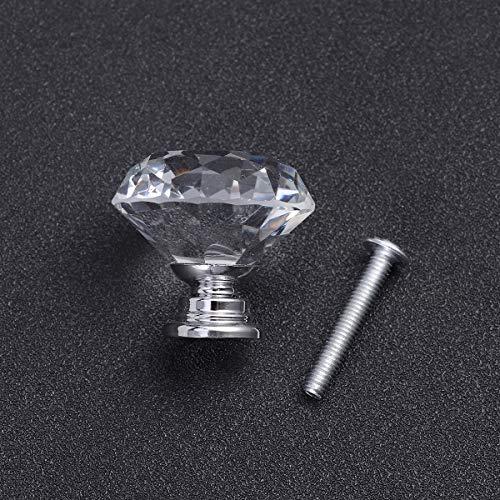61YyNA97gDL - OUNONA 10x cristal de diamante Moebelknopf Moebelknoepfe Brazos de muebles Moebelknauf manija del gabinete del mango, de 30 mm