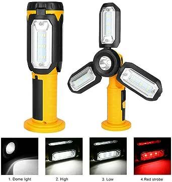 Lampada Torcia da Lavoro 10 LED COB 80 Lumen Bianco Freddo Alimentazione a Batteria Luce Emergenza Testina con Inclinazione Regolabile e Manico Dunlop