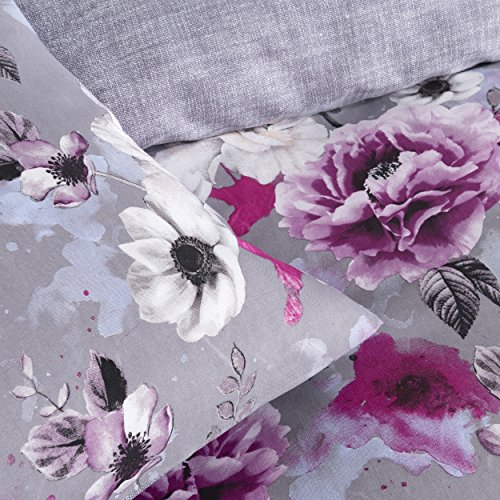 Inky Floral Grey Reversible Duvet Cover and Pillowcases Bedding Set by Pieridae.(Double)
