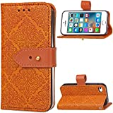 IPhone SE 5SE 5 5S Case, Codream Luxury PU Leather Wallet Flip Protective Stand Case Cover With Card Slots And Stand For IPhone SE 5SE 5 5S Khaki