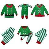 Pigiami Natale Famiglia Outfits,Indumenti da Notte Costume Cotone Camicie Manica Lunga + Pantaloni Abiti Tuta 2PC Abbigliamen