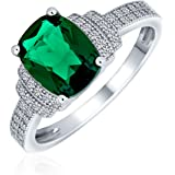 Bling Jewelry 5CT Cubic Zirconia CZ Pave Rectangle Green Simulated Emerald Cut Statement Engagement Ring for Women Sterling S