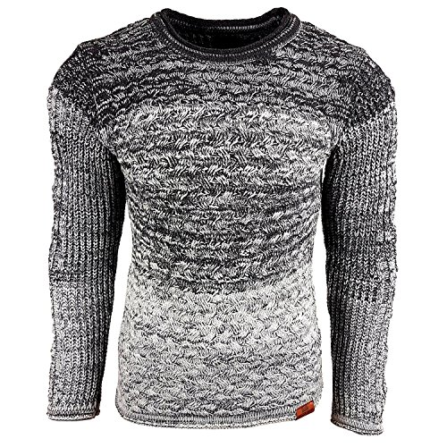Subliminal Mode - Pull Over Col arrondi Homme Tricot SB-13266 Petite Maille Gris
