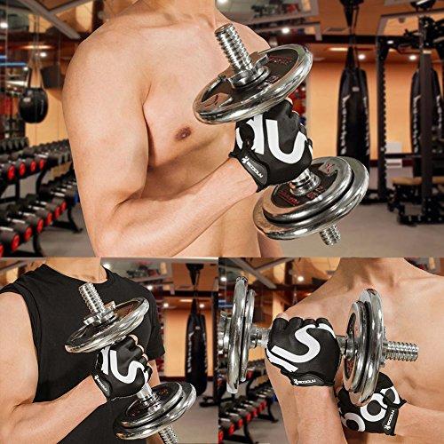 Fahrrad Handschuhe Fingerlos Schwarz Fitness SBR Gepolsterte Unisex Sport Gloves für Krafttraining Gewichtheben XXL by KONVINIT - 4