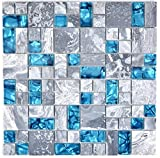 Mosaik Fliese Transluzent grau Kombination Glasmosaik Crystal Stein grau blau für BODEN WAND BAD WC DUSCHE KÜCHE FLIESENSPIEGEL THEKENVERKLEIDUNG BADEWANNENVERKLEIDUNG Mosaikmatte Mosaikplatte