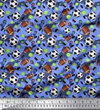 Soimoi Blau Baumwoll-Voile Stoff Cricketball, Rugby und
