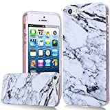 iPhone SE Case, iPhone 5S Marble Cover, We Love Case Soft Gel Silicone TPU Case With Clear Bumper Protective Cover Colorful Drawing Marble Stone Rock Design Premium Landscape Backcover Ultra Slim Flexible Shell Phone Cases For Apple iPhone 5 5S SE - White