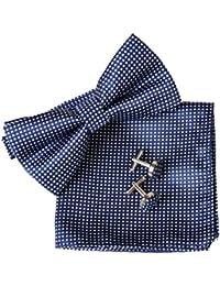 Men's Checked Pre-gebunden Bowtie Pocket Square Manschettenknopf Plain Jacquard Woven Classic ciciTree (Navy Blue)