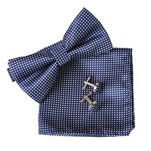 Men's Checked Pre-gebunden Bowtie Pocket Square Manschettenknopf Plain Jacquard Woven Classic ciciTree (Navy Blue) (Square Jacke Muster)