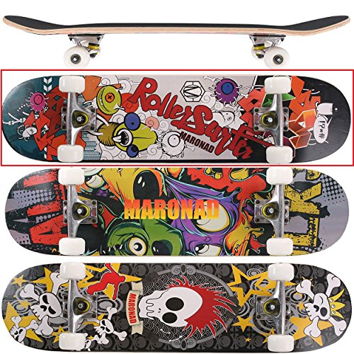 MARONAD Skateboard ABEC-7 Kugellager 80A PU Räder 9-lagigem Ahornholz 31x8 Inch (79x20cm) - BUG