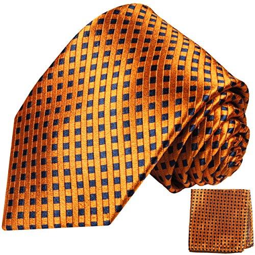 Cravate homme bleu orange à damier ensemble de cravate 2 Pièces ( 100% Soie Cravate + Mouchoir )