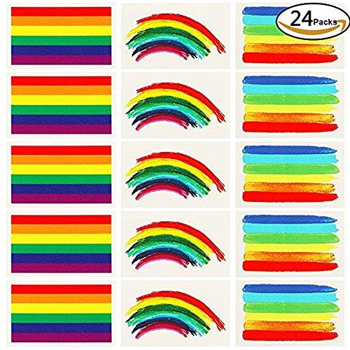 Gay Pride Rainbow Stickers, temporal, tatuaje Rainbow Stripes Tatuaje Pegatinas Impermeable Tatuaje Pintura Cuerpo - 3 Formas Tatuajes Juegos para Celebraciones del Orgullo Gay
