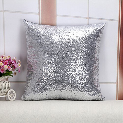 Throw Pillow Case, Starworld Fashion Glitter Sequined Zipped Pillow Cover for Home Bed Sofa Cafe Decoration / Silver