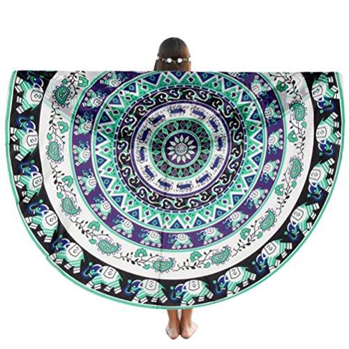 Ron de Serviette de plage, Amlaiworld Douche à la maison de piscine ronde de plage Tapis de yoga Couverture de serviette Tissu de table (150cm_x_150_cm, Vert)