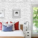 BRISEZZ Fototapete Steintapete selbstklebend Weiß 3D Tapete Wandtattoo dekorative Möbelfolie Dekorfolie Fotofolie Wandaufkleber Wandposter Wandsticker - Steinoptik Steinwand (45cm * 100cm)