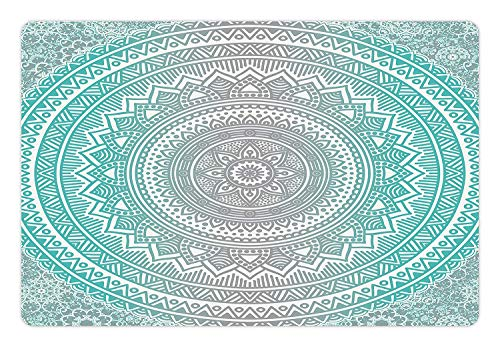 Muccum Grey and Aqua Pet Mat for Food and Water Ombre Traditional Universe Symbol with Tribal Geometric Mandala Zen Artwork Rectangle Non-Slip Rubber Mat for Dogs and Cats Aqua Grey - Tribal Artwork