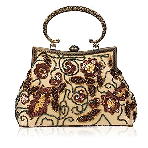 Handtaschen Damen Retro Handgemachte Perlen Schulter Diagonale Abend Paket , apricot (Tan Perlen Set)