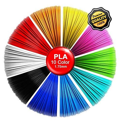 Paquete de 10 16 pies recargas de filamento de pluma de impresión 3D, 1.75 mm PLA filamento consumibles de graffiti para pluma de impresión 3D