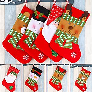 DAN SPEED Large Calze di Natale x 4Babbo Natale Snowman Orso Elk Style for Kids Gifts Candy Holder Big Size Party Decorazione