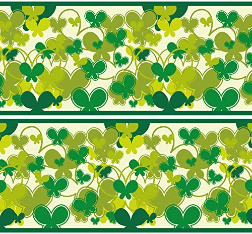"""Selbstklebende Bordüre """"Schmetterlinge Grün"""", 4-teilig 560x15cm, Tapetenbordüre, Wandbordüre, Borte, Wanddeko,Muster, Natur"""