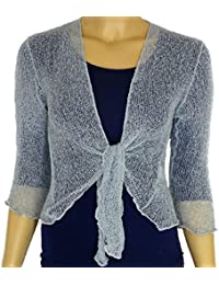 09bd97986e LADIES PLAIN KNITTED CROPPED TIE UP BOLERO SHRUG TOP - MASSIVE RANGE OF  COLOURS FIT…
