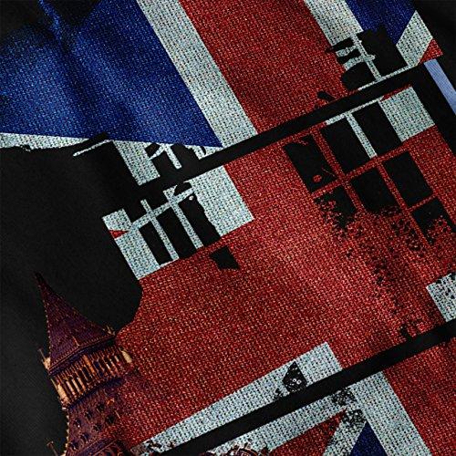 Gros Ben Drapeau Pays Royaume-Uni Femme S-2XL Sweat à capuche le dos | Wellcoda Noir