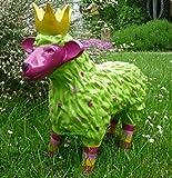 Gartenfigur lustiges buntes Schaf mit Krone Garten Deko Tier Lamm Königsschaf in Grün/Pink