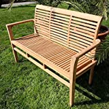 TEAK Design Gartenbank 150cm Parkbank Sitzbank 3-Sitzer Bank Gartenmöbel Holz sehr robust Modell: ALPEN von AS-S