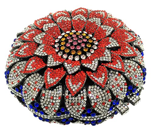 Pochette Donna Sera Borsetta Portafoglio Festa Cerimonia Borsa Sacchetto Da Diamante Frizioni Eleganti Girasole Rosso Multicoloured