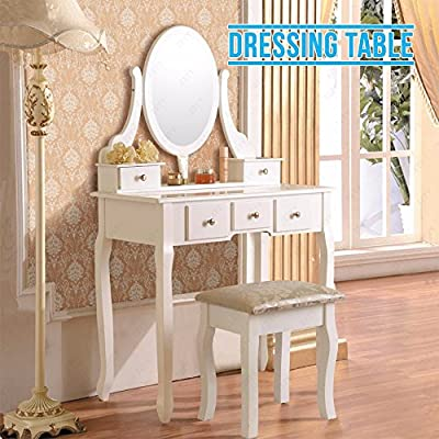 Dressing Table Oval Mirror & Stool Set Premium Quality 5 Drawers Shabby Vanity Bedroom Dresser - cheap UK light shop.