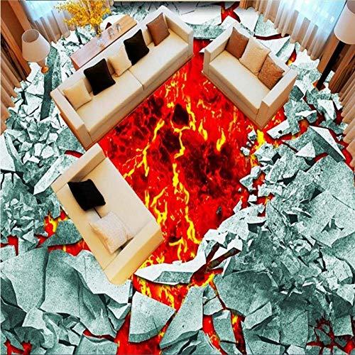 Boden Malerei Wand Bodenbelag 3D Broken Wall Vulkan Magma Outdoor Bodenbelag Malerei 3D 300Cm (L) X210Cm (W) -