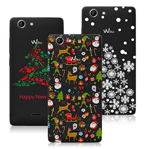 """Yokata [3 Packs] Merry Christmas Serise, Wiko Pulp 3G / 4G 5.0 Zoll Hülle Weihnachten, Transparent Weiche Silikon Handytasche Handyhülle Schutzhülle TPU Handy Tasche Schale Etui Weich Silicone Bumper Ultra Dünn Slim Durchsichtig Premium Kratzfest Kreative Christmas Gift Motiv Muster Clear Backcover Schutz für Wiko Pulp 4G (5"""") Case Cover - Weihnachten + Christmas Mix + White Christmas Tree"""