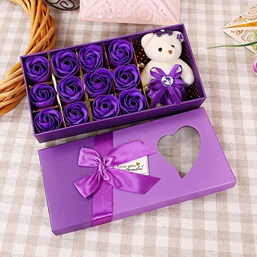 4 Bar Geschenk Seife (SED Künstliche Blume-12 Farbverlauf Plus Bär Farbe Box Seife Blume Seife Stieg Geschenk Box Lehrer, Lila 4,23 * 12 * 5 cm)