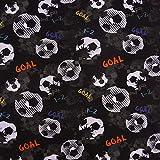 Jersey Stoff Digitaldruck Fußball Goal schwarz weiß bunt 1,45m Breite
