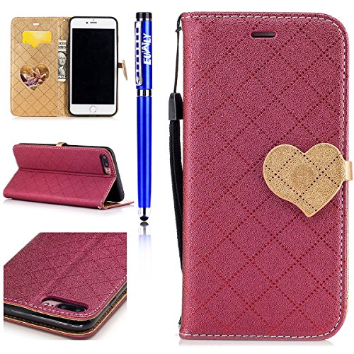 FESELE - iPhone 7 Plus Pelle Cover,iPhone 7 Plus Custodia di Cuoio Flip Stand per iPhone 7 Plus in PU Pelle, Donne/Ragazza Luccichio Elegante Amare Custodia Leather Wallet Portafoglio Cover Esterna co Rosso