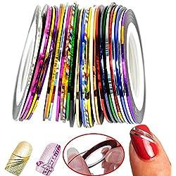 Kanggest 30Pcs Mezcla De Color De Belleza Rolls Striping Decalques Hoja Consejos De Línea De La Banda DIY Diseño Nail Art Decoración Pegatinas