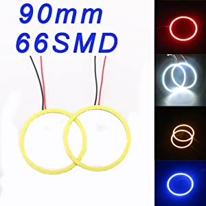 1-Pair TABEN Blue 60mm LED Halo Ring 45SMD COB LED Headlight Angel Eyes Bulb Halo Ring Lamp Light with Cover DC12V
