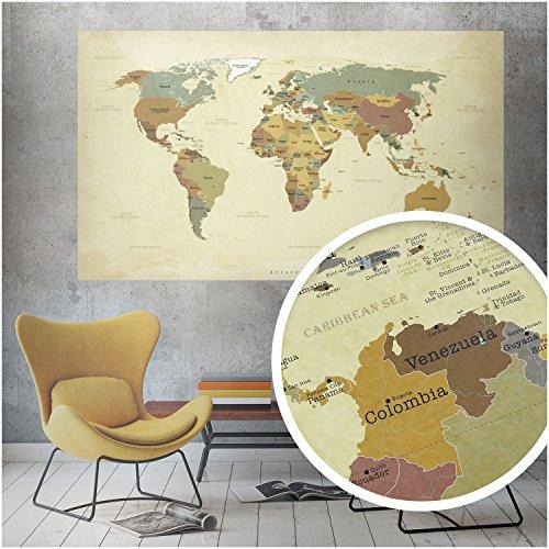 beneart® Weltkarte Vintage - Poster groß - Europakarte - Geschenkideen - Wandbild alt - 140 x 82 cm (Weltkarte Sprachen)