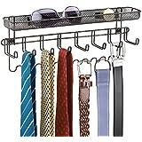 mDesign - Organizador de accesorios, de pared; guarda alhajas, collares, aros, pulsera, relojes pulsera - Bronce