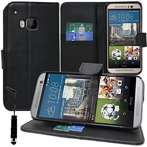 Hülle Cover Etui Wallet-Etui Halterung Video Buch Klappe Kunstleder für HTC One m9/HTC One Hima/One M9s - Schwarz + Mini-Eingabestift