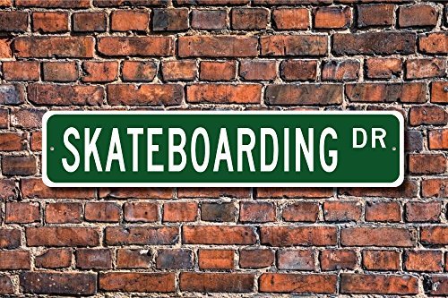 Stree Schild Skaten Schild Fan Skaten Geschenk Skateboard Rider Metall Aluminium Schild, Dekoration