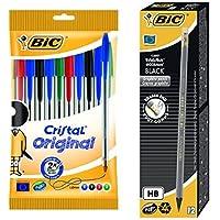 Bic - Pack 10 bolígrafos de punta redonda, colores surtidos + 12 lápices de grafito HB