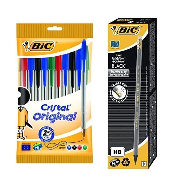 Bic – Pack 10 bolígrafos de punta redonda, colores surtidos + 12 lápices de grafito HB