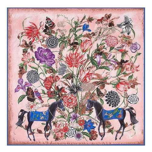 AHUIOPL 100% Silk Square Frauen Luxury Print Schals & Wrap Marke Hijab Foulard Silk Big Neckerchief Cachecol, Pferd Floral Pink (Print Silk Floral)