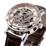 Herrenuhr Edelstahl Goldenes Skelett-Zifferblatt Mechanisch aufziehbar Luxus-Uhr Lederband Sport-Armbanduhr wm424
